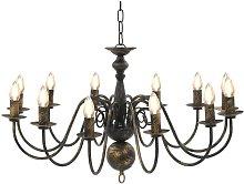 Chandelier Antique Black 12 x E14 Bulbs VD23218 -