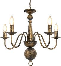 Chandelier Antique Black 5 x E14 Bulbs