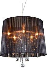 Chandelier chrome with black 50 cm 5-light -