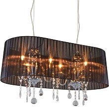 Chandelier chrome with black 80 cm 6 lights -
