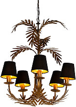 Chandelier gold with black shades 5-light -