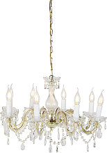 Chandelier gold with transparent 8-light - Marie