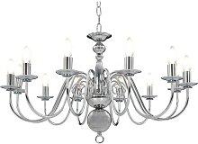 Chandelier Silver 12 x E14 Bulbs - Silver - Vidaxl