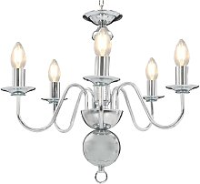 Chandelier Silver 5 x E14 Bulbs VD23213 - Hommoo