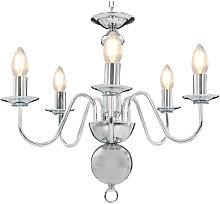 Chandelier Silver 5 x E14 Bulbs