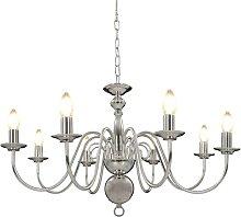 Chandelier Silver 8 x E14 Bulbs - Hommoo