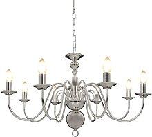 Chandelier Silver 8 x E14 Bulbs - Silver - Vidaxl
