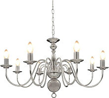 Chandelier Silver 8 x E14 Bulbs