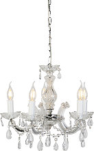 Chandelier transparent with chrome 5 lights -