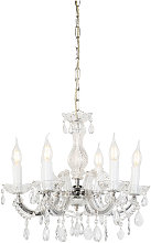 Chandelier transparent with chrome 6 lights -