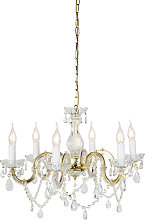 Chandelier transparent with gold 6 lights - Marie