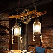 Chandelier Vintage E27 Pendant Light Oak Dining