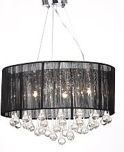 Chandelier with 85 Crystals Black VD30890 - Hommoo
