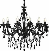 Chandelier with Beads Black 12 x E14 Bulbs