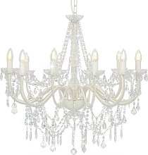 Chandelier with Beads White 12 x E14 Bulbs VD23205