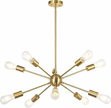 Chandeliers, 10 Light Brushed Brass Modern Pendant