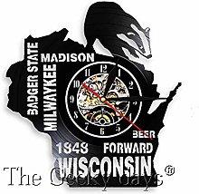 CHANGWW Wisconsin Cityscape Wall Art Decor Clock