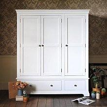 Chantilly Warm White Triple Wardrobe