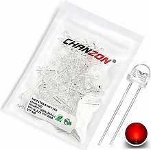 Chanzon 100 pcs 5mm Red LED Diode Lights (Clear