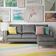 Chapman Velvet Corner Sofa In Grey with Chrome Legs
