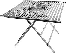 Charcoal BBQ Grill Stainless Steel Square Folding