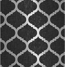 Charcoal Black Trellis Geometric Metallic Silver
