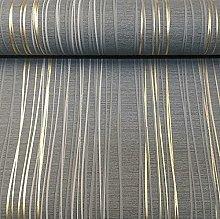 Charcoal Grey Gold Metallic Stripe Textured Blown