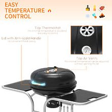 Charcoal Trolley BBQ Barbecue Grill Outdoor w/
