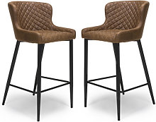 Charlie Antique Brown Leather Bar Stool In Pair