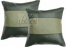 Charlie LONDON 2 x Genuine 100% Black Leather Sofa