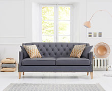 Charlotte Chesterfield Grey Leather 3 Seater Sofa