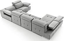 Charlotte Italian Leather Corner Group Sofa Plata