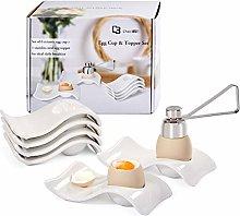 ChasBete Egg Cups Set of 6, Ceramic Egg Holder+