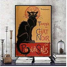 Chat Noir Cat Vintage Canvas Art Print Painting