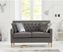 Chatsworth Chesterfield Grey Linen Fabric 2 Seater