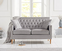 Chatsworth Chesterfield Grey Plush 2 Seater Sofa