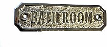 Chattels BATHROOM Door Sign Solid Brass with a