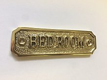 Chattels BEDROOM Door Sign Solid Brass with a