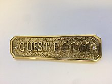 Chattels GUEST ROOM Door Sign Solid Brass with a