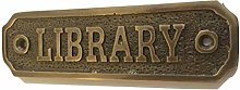 Chattels LIBRARY Door Sign Solid Brass with a