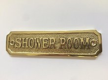 Chattels SHOWER ROOM Door Sign Solid Brass with a