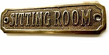 Chattels SITTING ROOM Door Sign Solid Brass with a