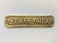 Chattels STAFF ONLY Door Sign Name Plate Solid