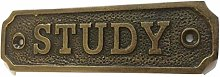 Chattels STUDY Door Sign Solid Brass with a