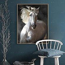 CHBOEN Artwork Canvas Painting White Horse Modern