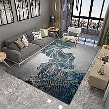 Cheap Online Carpets Bedroom Rug Blue gold grey