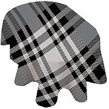 Checkered Oval Tablecloth,Old Fashioned Plaid