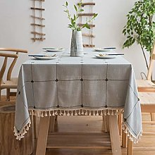 Checkered Tassel Tablecloth, Heavy Duty Cotton