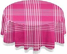 Checks Plaid Tartan Pink Round Linen Tablecloth