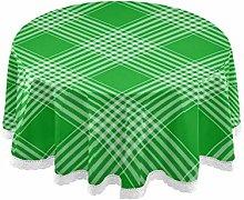 Checks Tartan Plaid Green Diagonal Round Linen